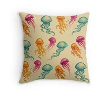 JellyFish, tan Throw Pillow