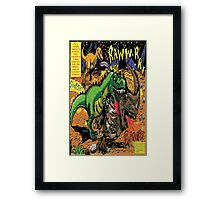 """Space Chick & Nympho: Vampire Warrior Party Girl Comix #1-  Comic Page """"Dino Fight"""" Framed Print"""