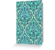 Botanical Moroccan Doodle Pattern in Mint Green, Lilac & Aqua Greeting Card
