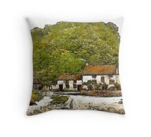 A digital painting of Sir Francis Drake's House (Blakeney) near Severn Bridge, Gatcombe, England 19th century Throw Pillow