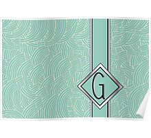 1920s Blue Deco Swing with Monogram letter G Poster