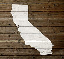 California State Shape Map White Paint on Wood Planks by map-lover