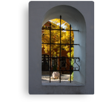 Autumn Through the Fence Window Canvas Print