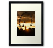 Framing the Sunset in London - the London Eye and Big Ben  Framed Print