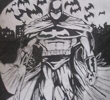 batman line drawing  by Rebecca Hannant