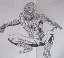 spiderman ink drawing  by Rebecca Hannant