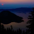 Smoky Sunrise over Crater Lake by Shari Galiardi