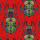 flower beetle red (card) by Sharon Turner