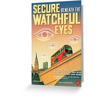 London CCTV Poster - Secure Beneath The Watchful Eyes Greeting Card