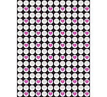 Pink Hearts and White Dots on Black Checkered Pattern Photographic Print