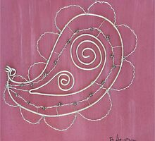 Silver paisley on Pink by wildtangents