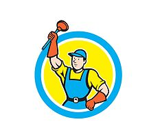 Super Plumber With Plunger Circle Cartoon by patrimonio
