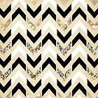 Black, White & Gold Glitter Herringbone Chevron on Nude Cream by Tangerine-Tane
