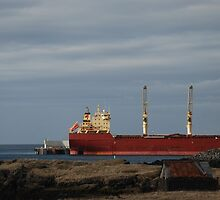 Large Red Cargo Ship by HannahLstaples