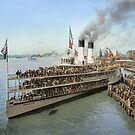 Sidewheeler Tashmoo leaving wharf in Detroit, ca 1901 Colorized by Sanna Dullaway