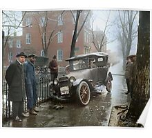 Auto Wreck in Washington DC, 1921. Colorized Poster
