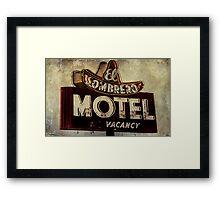 Vintage El Sombrero Motel Sign, Salinas, CA. Framed Print