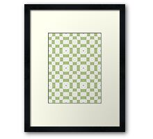 Mint Green & White Geometric Abstract Design Framed Print