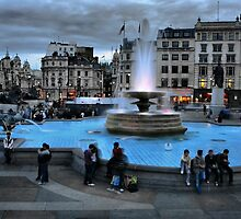 Evening at Trafalgar Square by Barbara  Brown