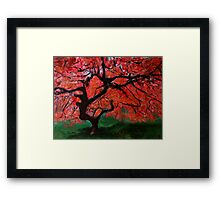 Japanese Maple Tree Red Pink Leaves Contemporary Acrylic Painting Framed Print