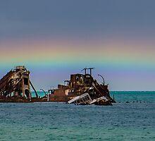 A Beautiful Rainbow over The Wrecks by Ann Pinnock