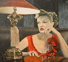 Boredom or woman in red dress in bar by Jane Ianniello
