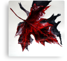 Canada Maple Leaf Red Acrylic On Paper Contemporary Painting  Canvas Print