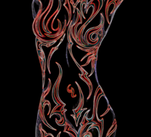 A colorful love for the female body. red glow Sticker
