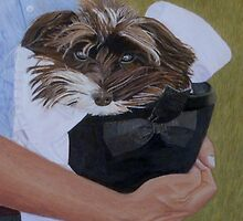 """""""I Got Carried Away"""" Puppy Dog in Equestrian Helmet Painting by Patricia Barmatz"""