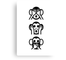 3 Wise Monkeys Emoji Canvas Print