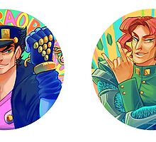 Stardust Crusaders Stickers: Jotaro & Kakyoin by cocokat
