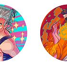 Stardust Crusaders Stickers: Polnareff & Abdul by cocokat
