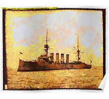 A digital painting of the British Cruiser HMS Argyll 1907 Poster