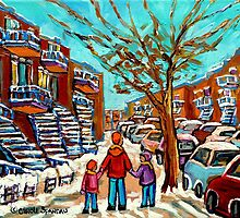 VERDUN WINTER WALK PAINTING by Carole  Spandau