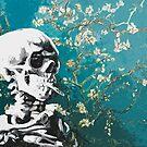 Skull with burning cigarette on cherry blossom by filippobassano