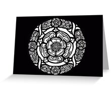 Historic Tudor Rose Stained Glass Paper cut design Greeting Card