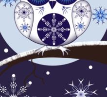Cute Snow Owl on branch & decorative Snowflakes Sticker