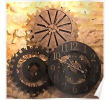Metal Clocks on Stone Wall Poster