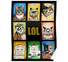 LOL Cats with Moustaches Poster