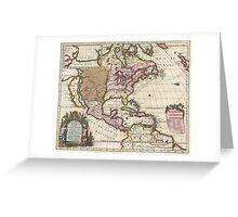 Vintage Map of The Americas (1698)  Greeting Card