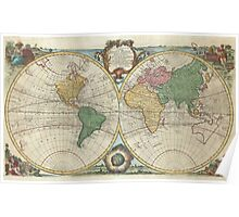 Vintage Map of The World (1744) Poster