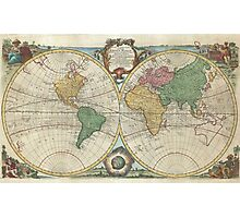 Vintage Map of The World (1744) Photographic Print