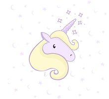 Cute little unicorn - Lilac (yellow mane) by HoneyCamomile