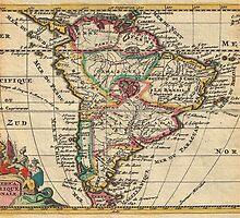 Vintage Map of South America (1747) by BravuraMedia