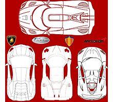 Super Car BluePrints - Aventador, Zonda F, P1, Agera R Photographic Print