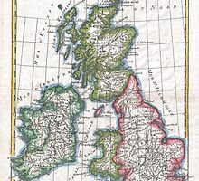 Vintage Map of British Isles (1780) by BravuraMedia