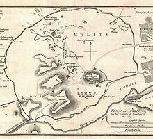 Vintage Map of Athens Greece (1784) by BravuraMedia