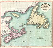 Vintage Map of Nova Scotia and Newfoundland (1807) by BravuraMedia