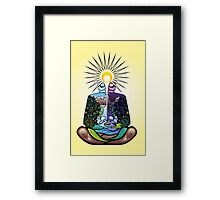 Psychedelic meditating Nature-man Framed Print