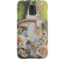 Cat Art - Cute Kittens in a Flowers Basket at Spring Time  Samsung Galaxy Case/Skin